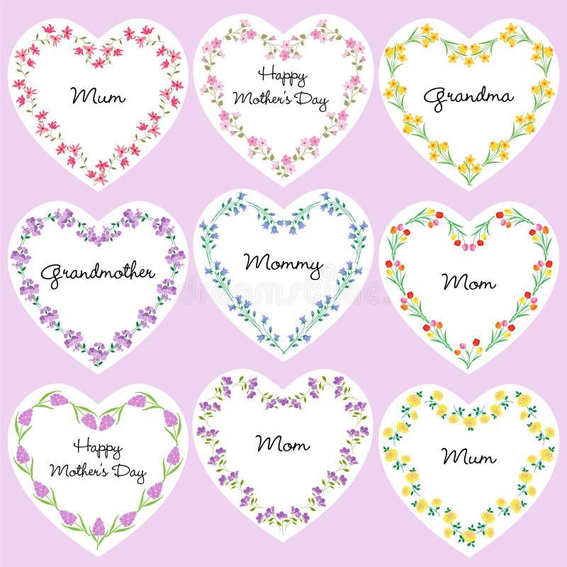 Ramar för blomma för dag för moder` s stock illustrationer