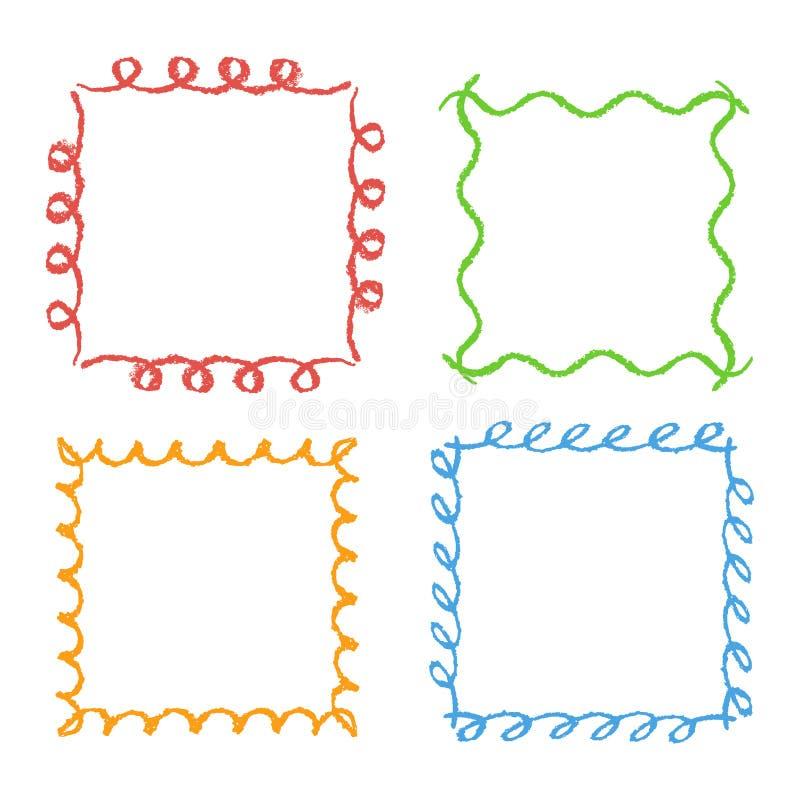 Ramar för fyrkant för färgpennahandteckning Uppsättning av färgrik rektangulär utsmyckad den designbeståndsdelkrita eller blyerts vektor illustrationer