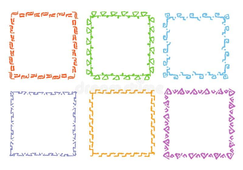 Ramar för fyrkant för färgpennahandteckning Uppsättning av färgrik rektangulär utsmyckad den designbeståndsdelkrita eller blyerts stock illustrationer