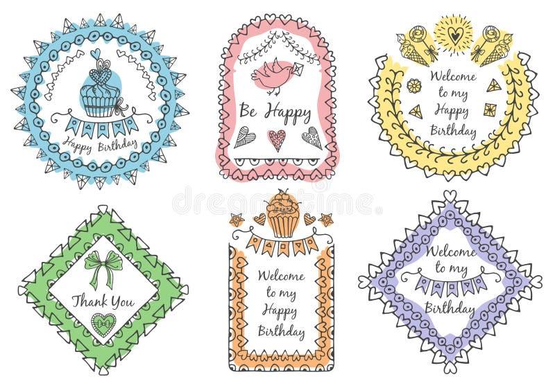 Ramar för hand-dragen text stock illustrationer