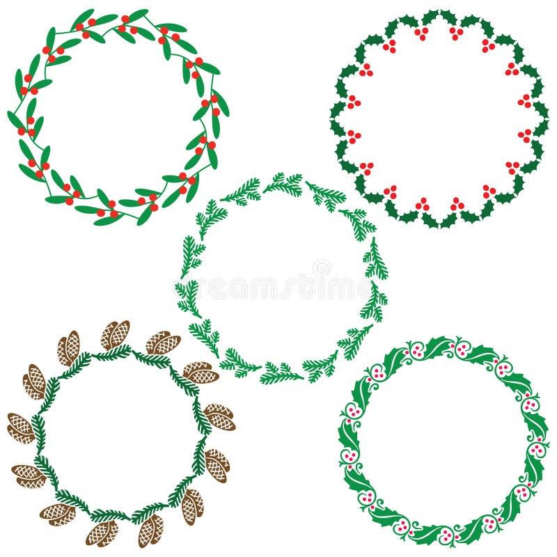 Ramar för julgrönskakrans vektor illustrationer