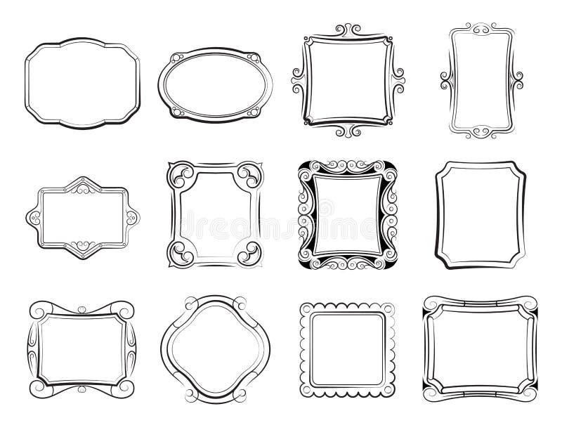 Ramar för tappningklotterbild, hand dragen photoframesvektoruppsättning stock illustrationer