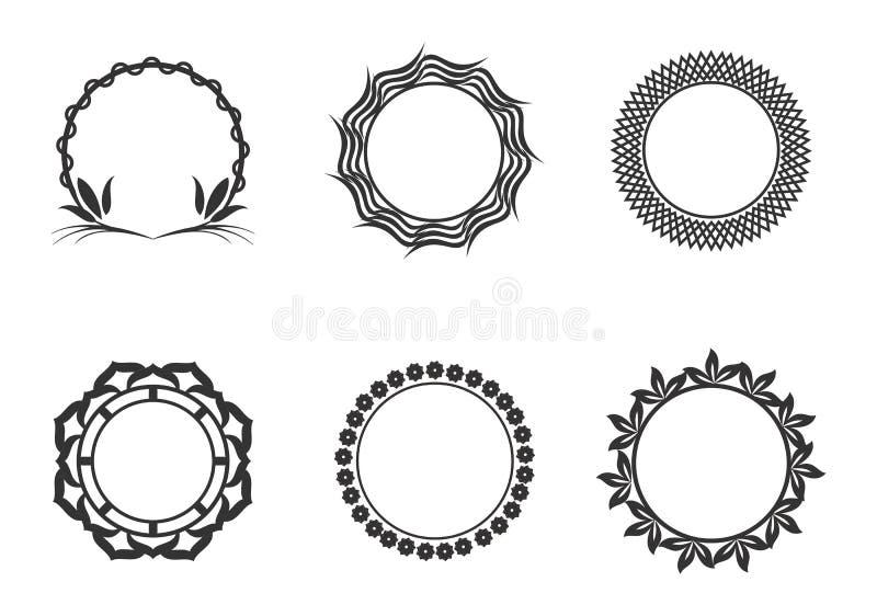 Ramar f?r cirkel f?r vektordiagram Kransar f?r designen, logomall vektor illustrationer