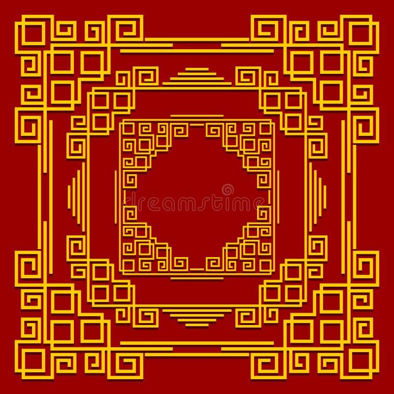 Ramar i den kinesiska stilen Uppsättning av guld- dekorativa beståndsdelar på röd bakgrund royaltyfri illustrationer