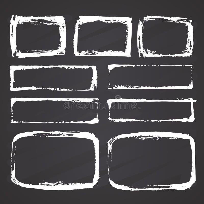 Ramar och textaskar, grunge texturerade handen drog best?ndsdelupps?ttningen, vektorillustration p? svart tavlabakgrund vektor illustrationer