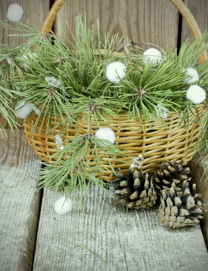 Ramas de árbol azules de abeto con los conos del pino en una cesta fotografía de archivo libre de regalías