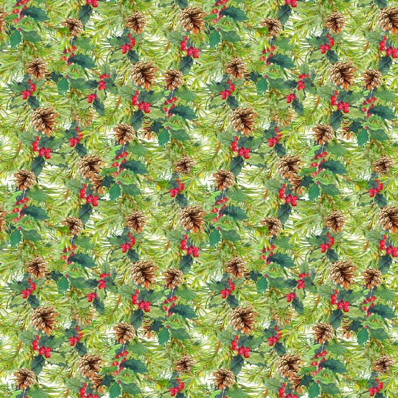 Ramas de árbol de abeto, muérdago Modelo inconsútil de la Navidad watercolor libre illustration
