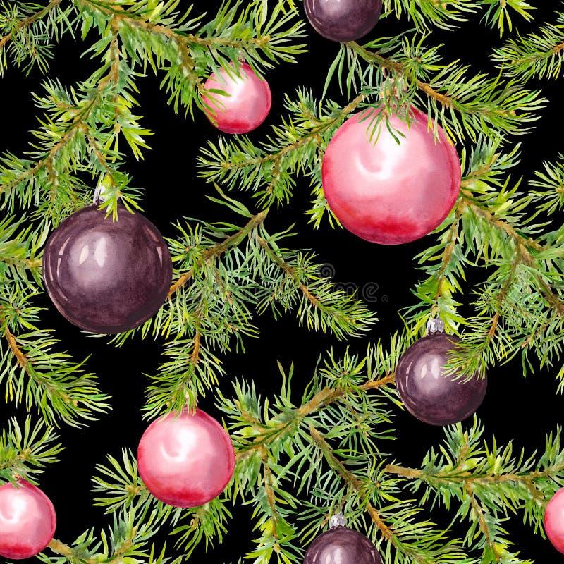 Ramas de árbol de navidad del pino Modelo inconsútil para el diseño de la Navidad watercolor imagenes de archivo