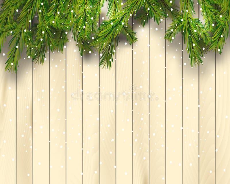 Ramas de árbol de navidad en el fondo de madera ligero, ejemplo del vector Visión superior Frontera realista del abeto, marco ilustración del vector