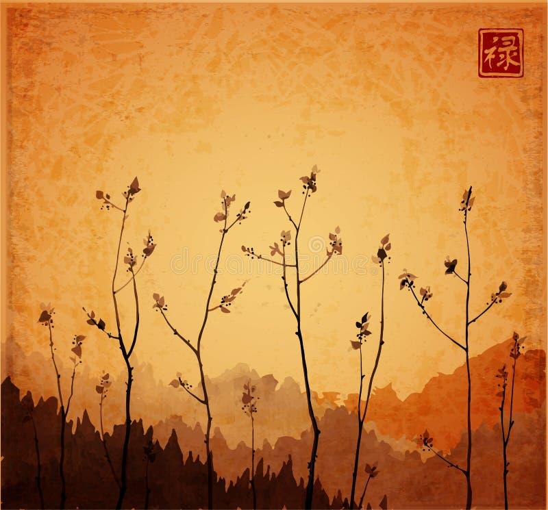 Ramas de árboles jovenes con las hojas frescas en fondo del vintage Sumi-e oriental tradicional de la pintura de la tinta, u-peca stock de ilustración