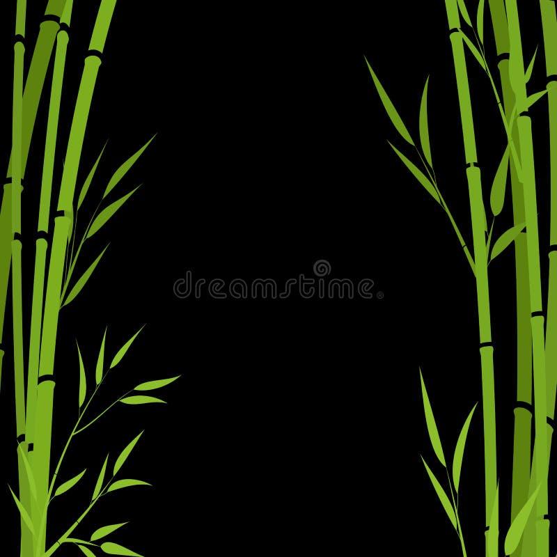 Ramas de bamb? en un fondo blanco Ramas verdes en un fondo negro stock de ilustración