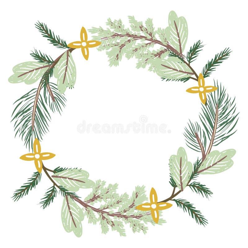 Ramas de la conífera de la guirnalda de la Navidad imágenes de archivo libres de regalías