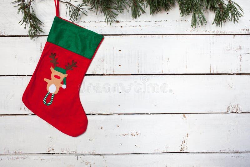 Ramas de la media y del pino de la Navidad imagen de archivo