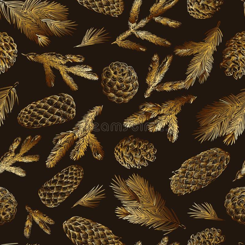 Ramas del pino y modelo inconsútil de los conos Elementos coníferos del bosque de la picea exhausta de la mano Ejemplo del bosque stock de ilustración