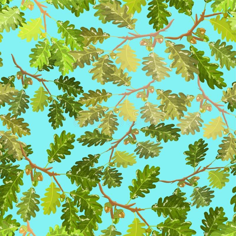 Ramas del roble con el modelo inconsútil de la hoja y de la bellota con el fondo del cielo azul libre illustration