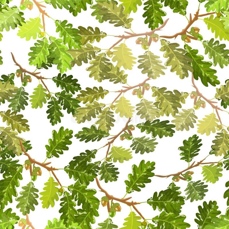 Ramas del roble con el modelo inconsútil de la hoja y de la bellota libre illustration