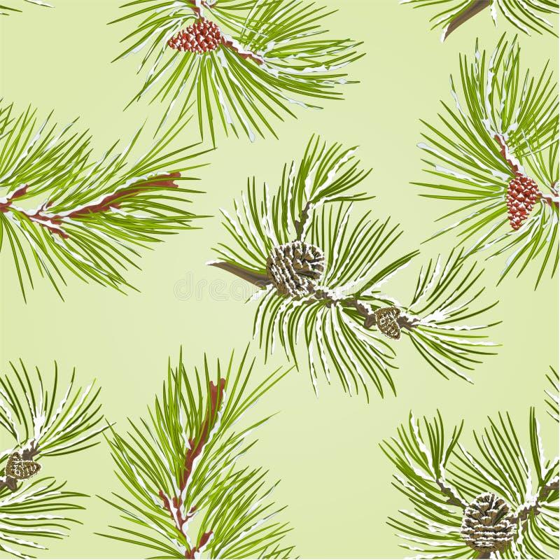 Ramas inconsútiles del pino de la textura dos con los conos del pino con vector de la nieve stock de ilustración