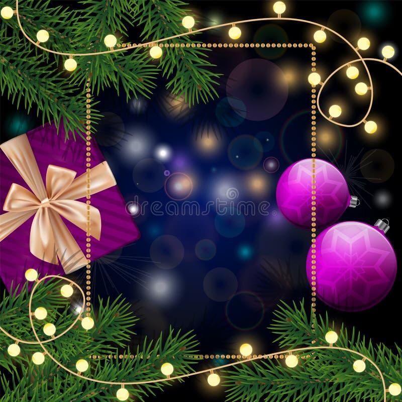 Ramas realistas del pino, chucherías púrpuras, marco y copos de nieve, g stock de ilustración