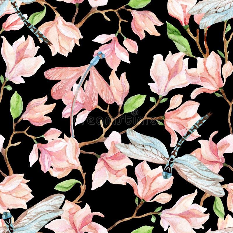 Ramas y libélula de la magnolia de la acuarela ilustración del vector