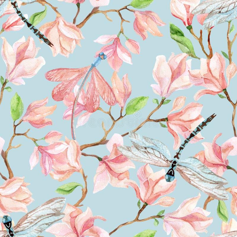 Ramas y libélula de la magnolia de la acuarela libre illustration