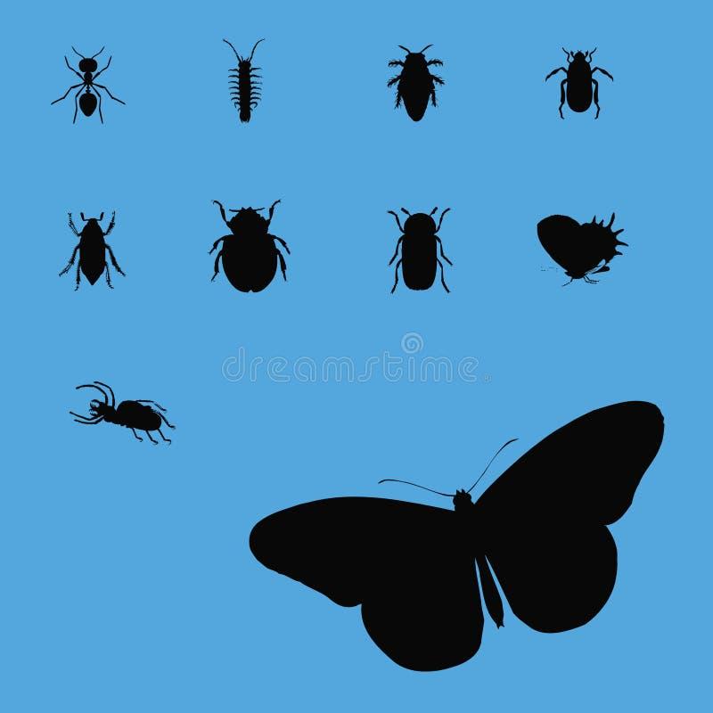 Ramassage 2 de silhouette d'insecte illustration stock