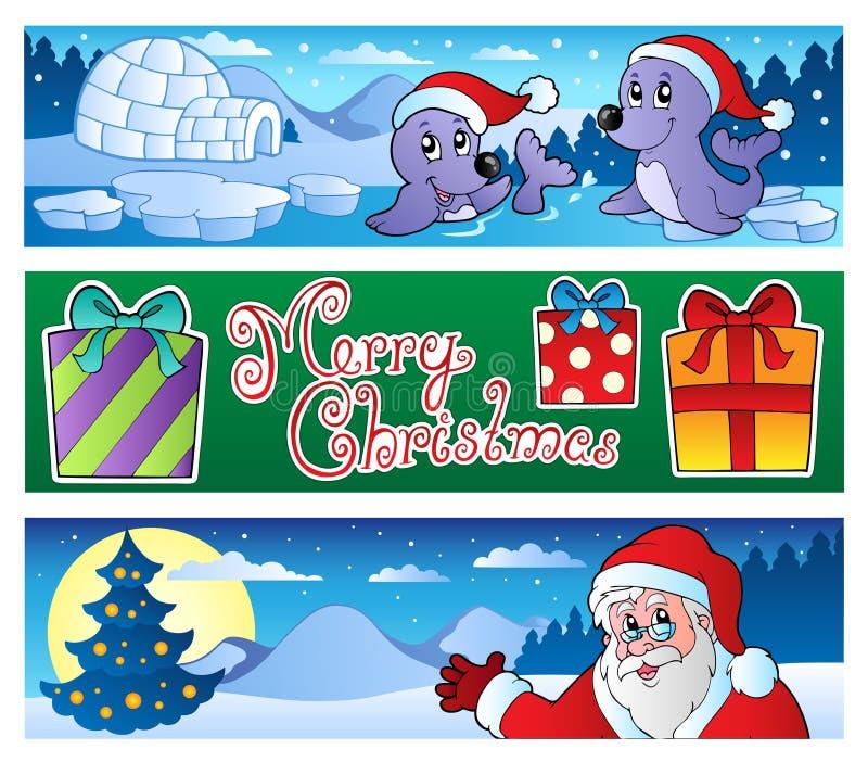 Ramassage 3 de drapeaux de Noël illustration de vecteur