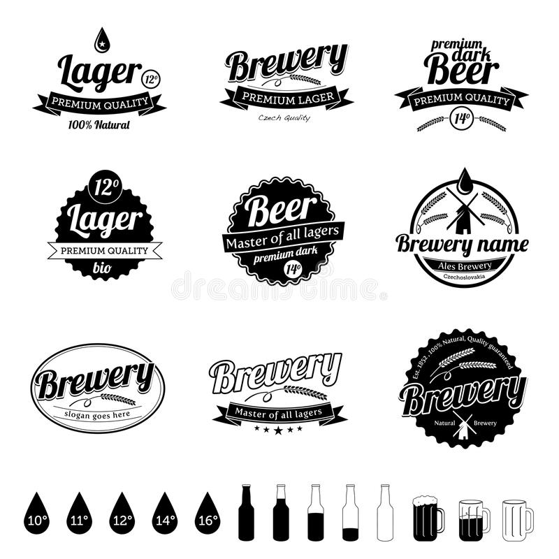 Ramassage d'étiquettes de bière de cru illustration de vecteur