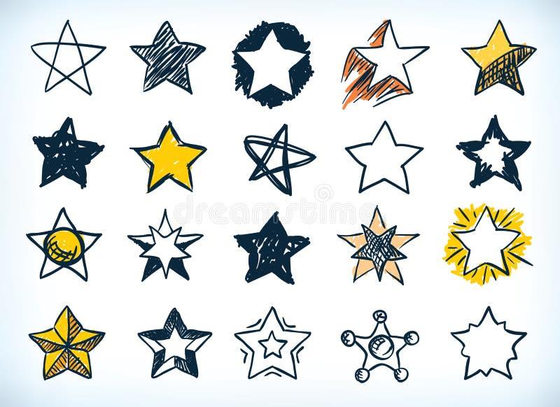 Ramassage d'étoiles tirées par la main illustration libre de droits