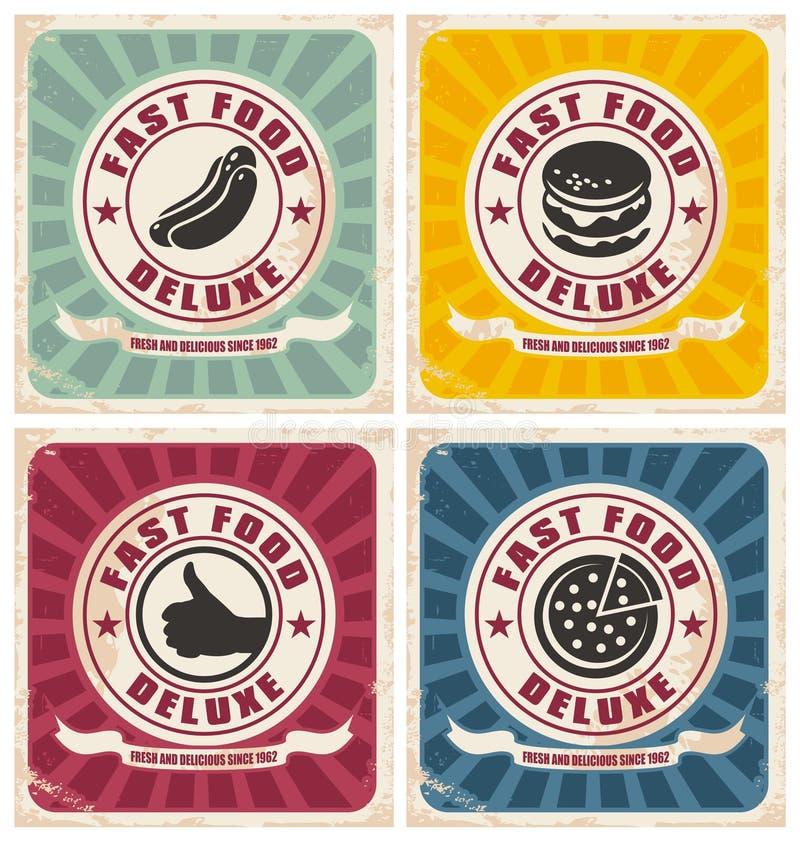 Ramassage d'affiches d'aliments de préparation rapide de cru illustration stock
