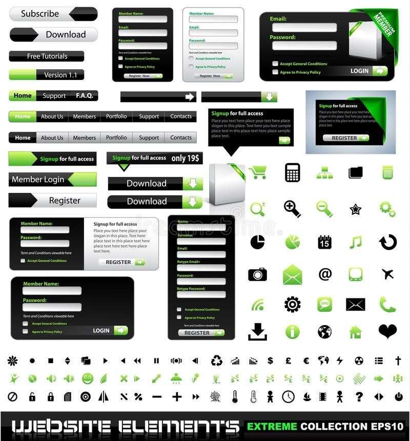 Ramassage d'extrémité d'éléments de conception de Web illustration libre de droits