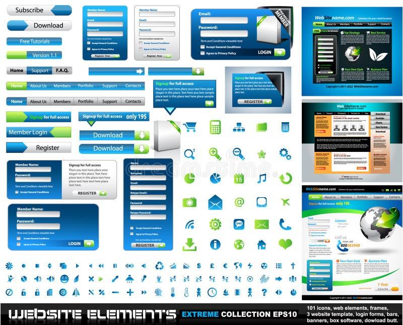 Ramassage d'extrémité d'éléments de conception de Web illustration stock