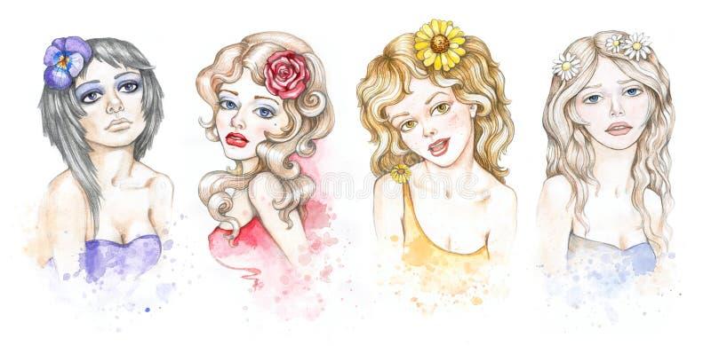 Ramassage d'illustrations de mode d'aquarelle illustration de vecteur