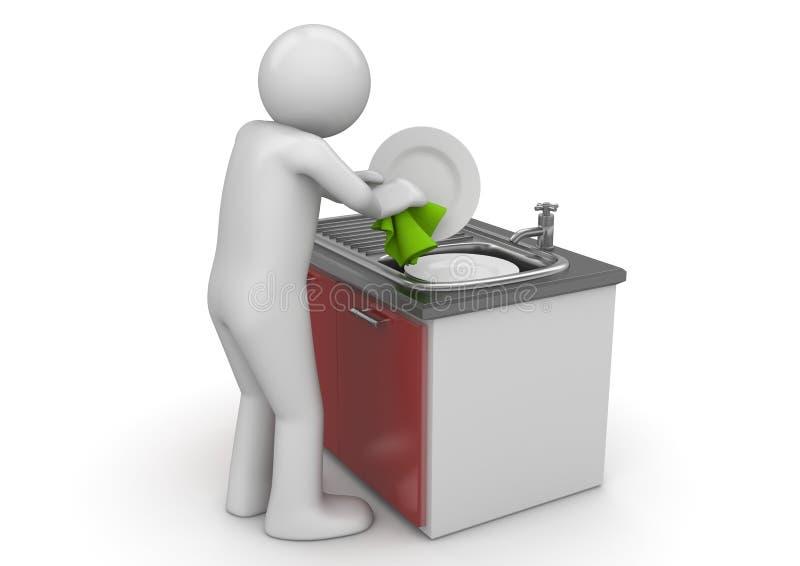 Ramassage d'ouvriers - lave-vaisselle illustration stock