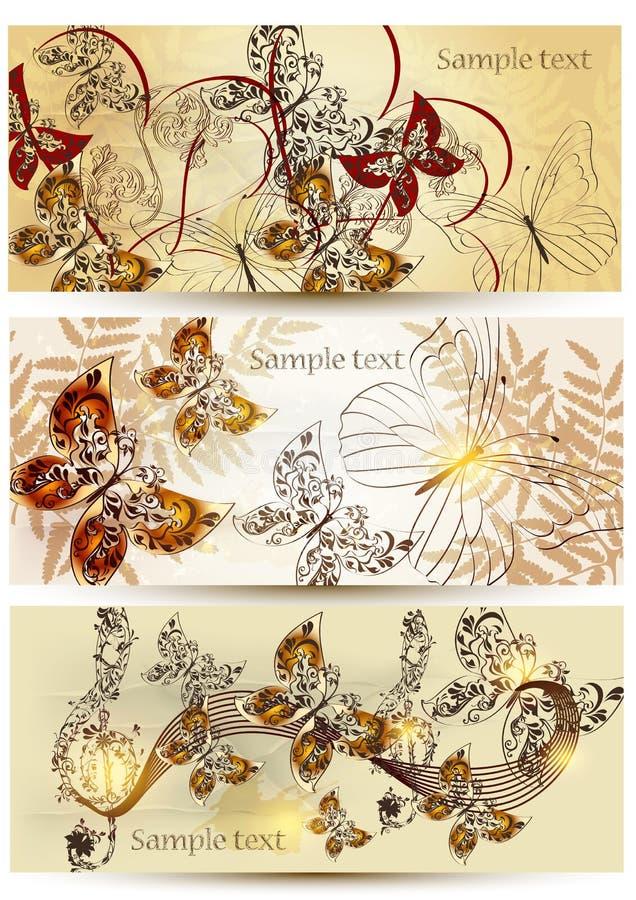 Ramassage de cartes florales dans le type de cru illustration libre de droits