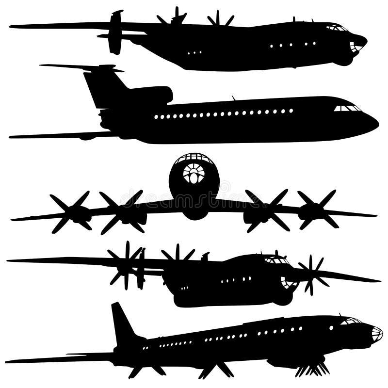Ramassage de différentes silhouettes d'avion. illustration de vecteur