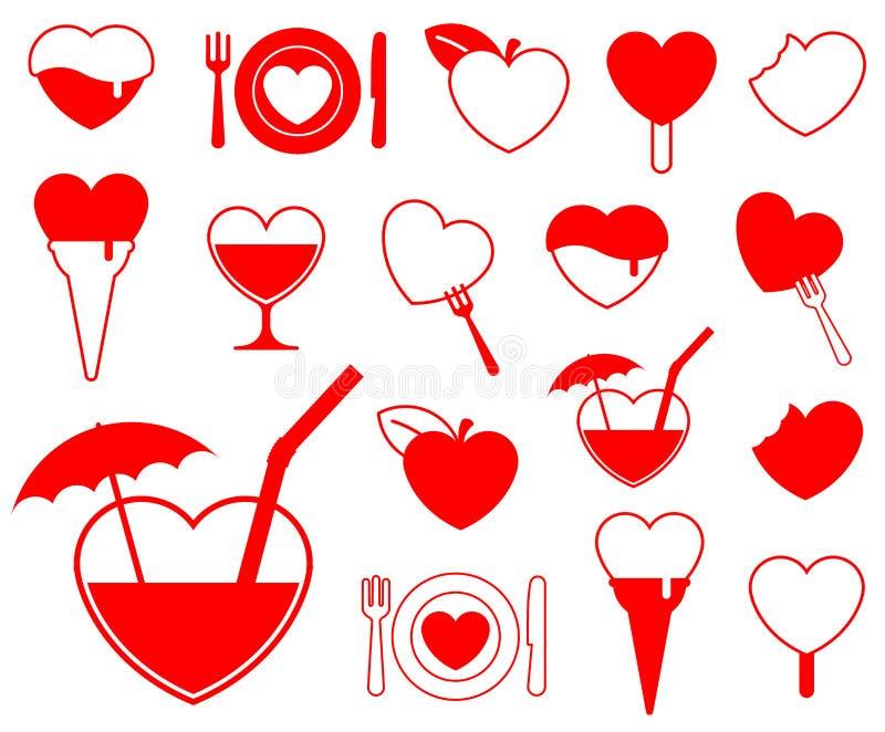 Ramassage de graphisme de coeur - food/b illustration de vecteur