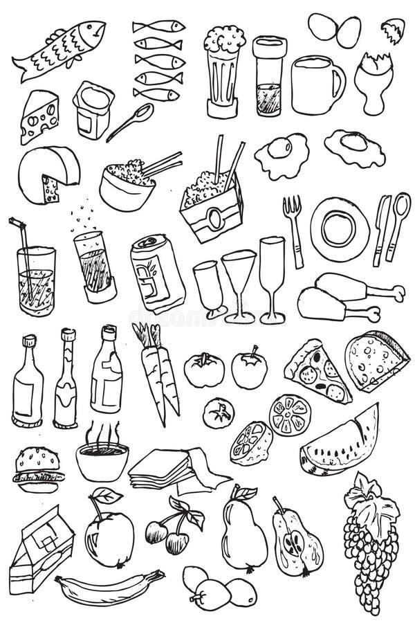 Ramassage de graphisme de nourriture d'attraction de main illustration libre de droits