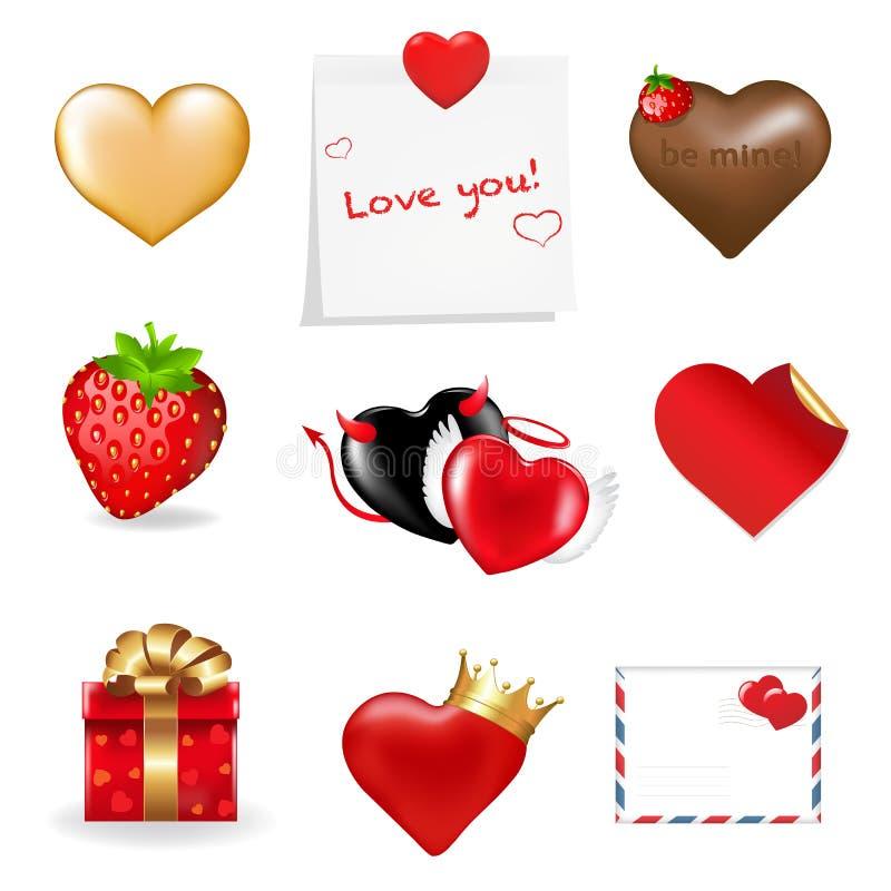 Ramassage de graphismes de jour de Valentines. Vecteur illustration libre de droits