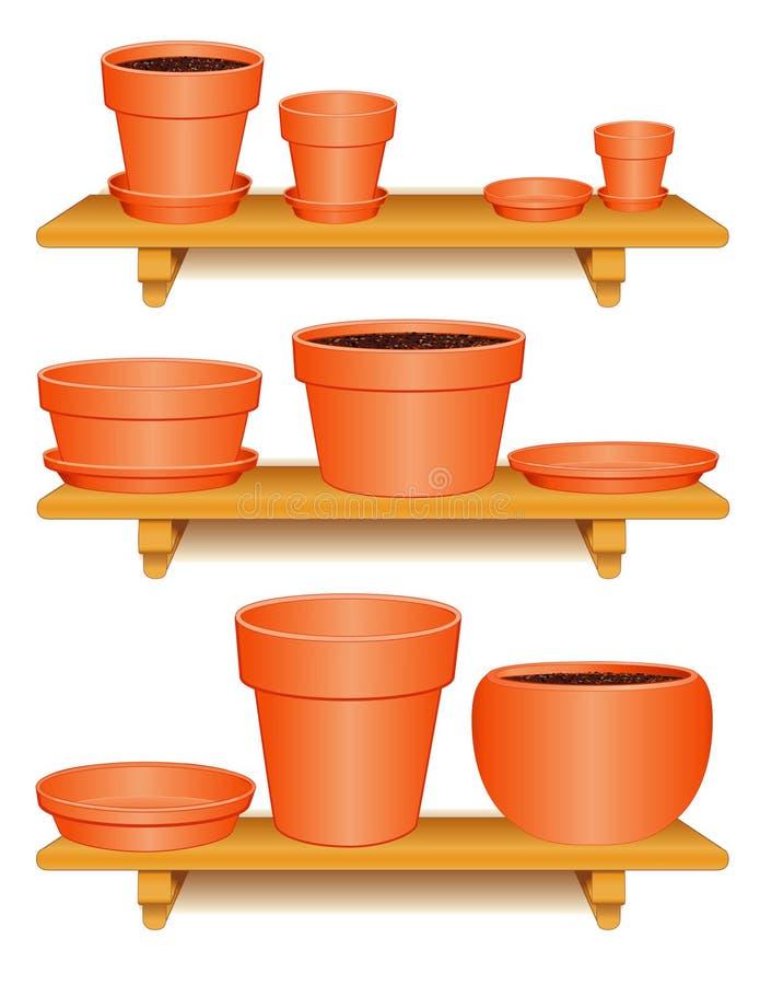 Ramassage de poterie d'argile, étagères en bois illustration libre de droits