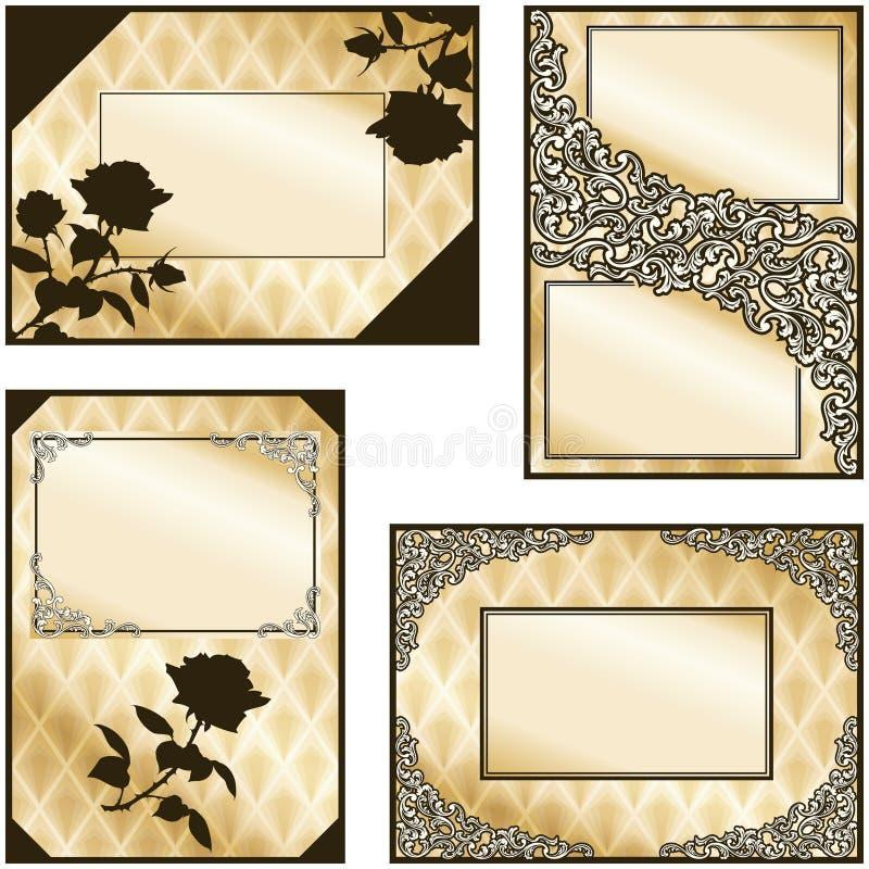 Ramassage de quatre étiquettes élégantes de sépia illustration stock