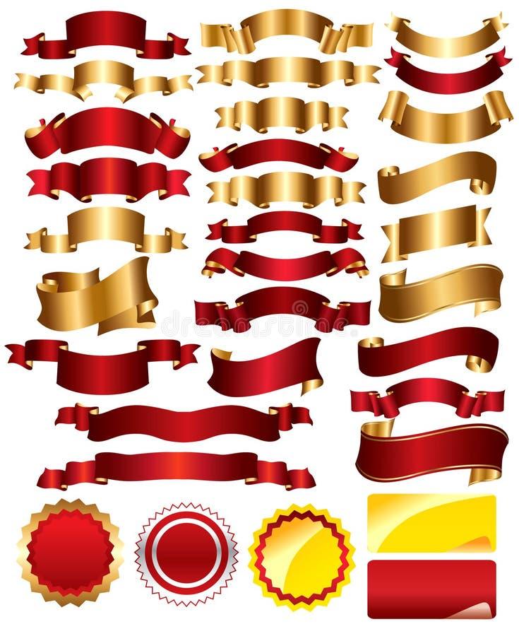 Ramassage de rouge et de bandes d'or illustration de vecteur
