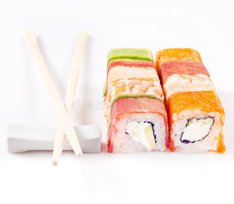 Ramassage De Roulis De Sushi Photos libres de droits