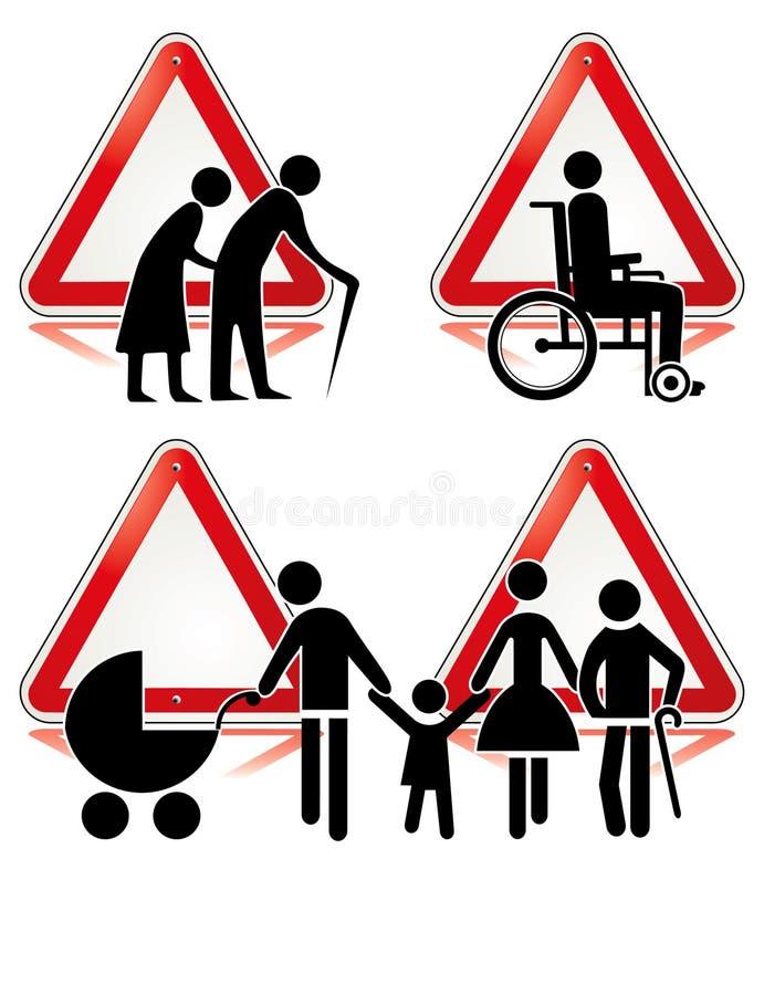 Ramassage de signes d'handicap illustration de vecteur