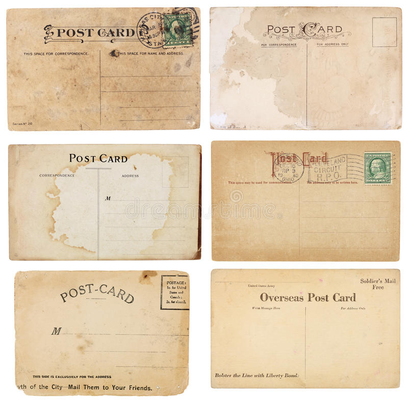 Ramassage de six cartes postales de cru photo libre de droits