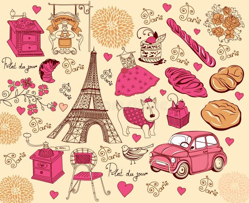 Ramassage de symboles de Paris. illustration stock