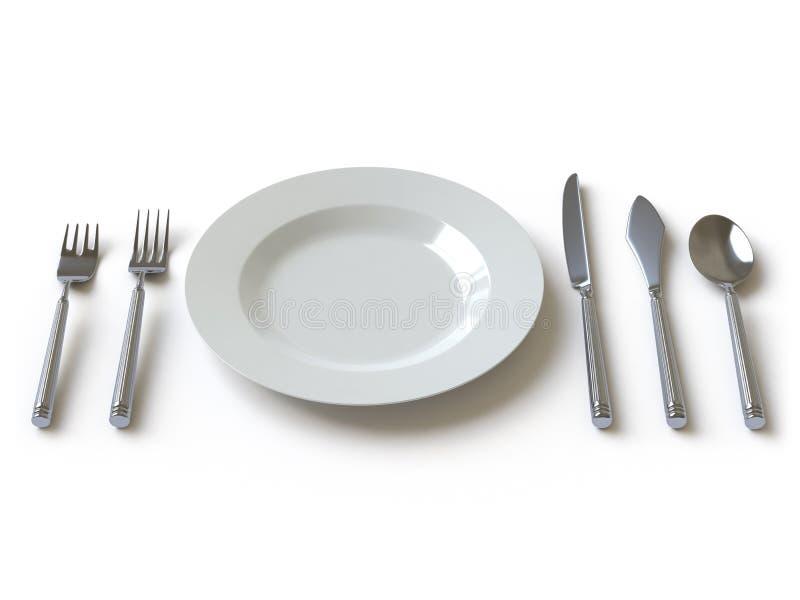 Ramassage de vaisselle - poussée ici illustration stock