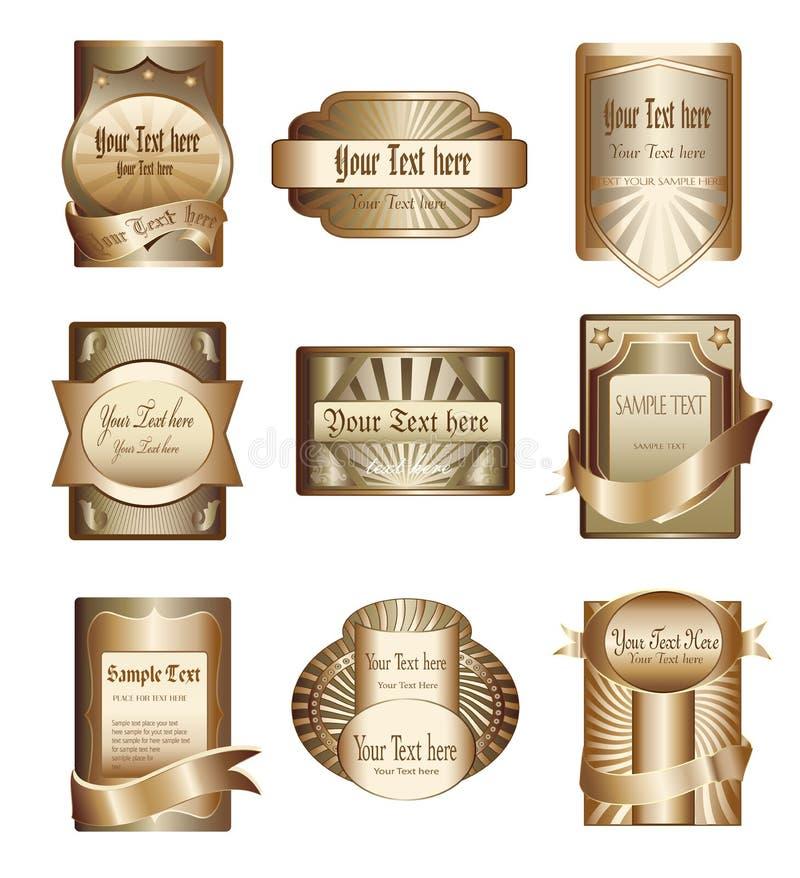 Ramassage de vecteur d'étiquettes d'or de luxe illustration libre de droits