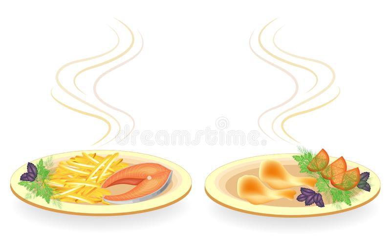 ramassage Du plat est le pilon de la viande de poulet, bifteck saumoné Les pommes de terre frites par garniture, tomate, verdit l illustration libre de droits
