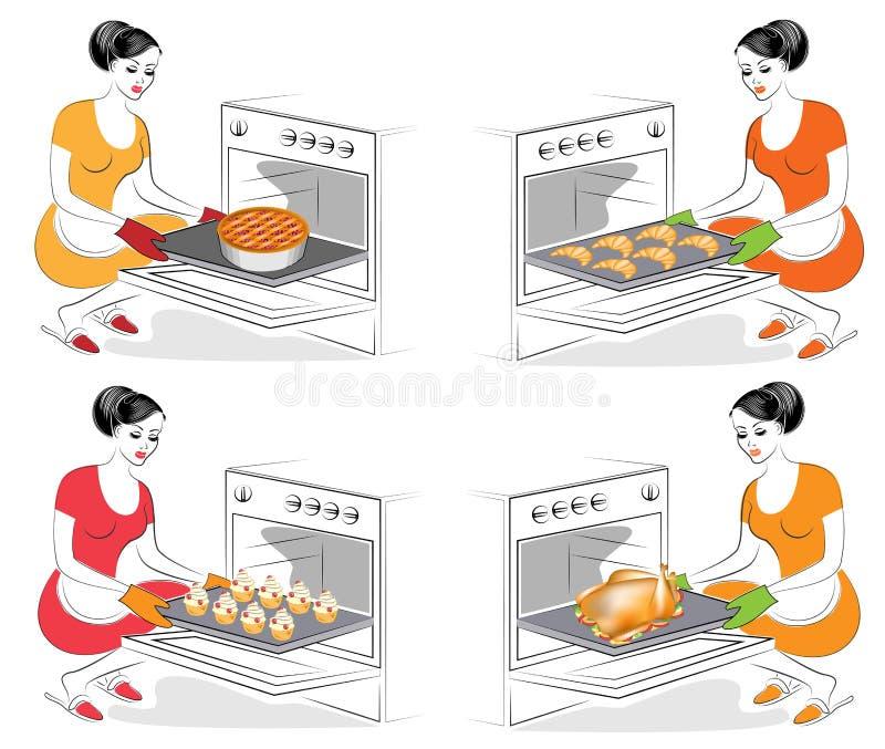 ramassage La dame fait cuire la nourriture La fille fait cuire au four dans les différents plats de four, petits pains, croissant illustration libre de droits