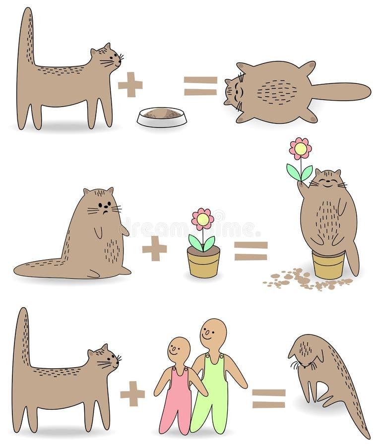 ramassage Le chat va jouer avec les enfants Alors l'animal devient triste Animal familier se reposant dans un pot de fleurs, mang illustration libre de droits